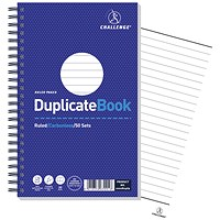 Challenge Wirebound Carbonless Ruled Duplicate Book, 50 Sets, 210x130mm, Pack of 5