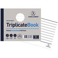 Challenge Carbonless Triplicate Book, Ruled, 100 Sets, 105x130mm, Pack of 5