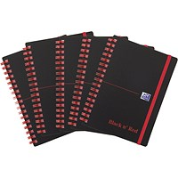 Black n' Red Wirebound Polypropylene Notebook, A6, Ruled, 140 Pages, Pack of 5