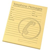 Challenge Telephone Message Pad, 80 Sheets, 127x102mm, Yellow Paper, Pack of 10