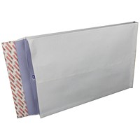 Plus Fabric Gusset Envelopes, 381x254mm, 25mm Gusset, Peel & Seal, White, Pack of 100