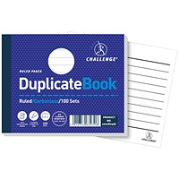 Challenge Carbonless Ruled Duplicate Book, 100 Sets, 105x130mm, Pack of 5