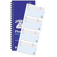 Challenge Wirebound Carbonless Telephone Message Book, 320 Messages, 305x152mm