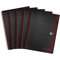 Black n' Red Recycled Wirebound Polypropylene Notebook, A5, Ruled & Perforated, 140 Pages, Pack of 5