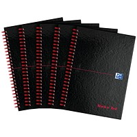 Black n' Red Wirebound Notebook, A4, Smart Ruled & Perforated, 140 Pages, Pack of 5