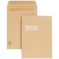New Guardian Heavyweight C4 Pocket Envelopes with Window, Manilla, Press Seal, 130gsm, Pack of 250