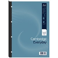 Cambridge Refill Pad, A4, Feint, Ruled with Margin, 4 Holes, 160 Pages, Pack of 5