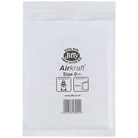 Jiffy Airkraft No.0 Bubble-lined Postal Bags, 140x195mm, Peel & Seal, White, Pack of 100