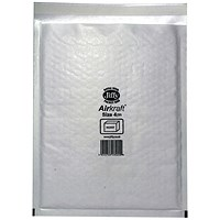 Jiffy Airkraft No.4 Bubble-lined Postal Bags, 240x320mm, Peel & Seal, White, Pack of 50