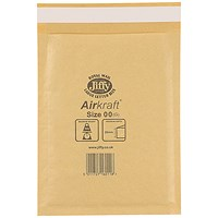 Jiffy AirKraft Bag Size 00 115x195mm Gold (Pack of 100) JL-GO-00