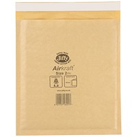 Jiffy Airkraft No.2 Bubble Bag Envelopes, 205x245mm, Gold, Pack of 100