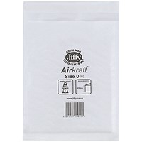 Jiffy Airkraft Bag Size 0 140x195mm White JL-0 (Pack of 10) 04889