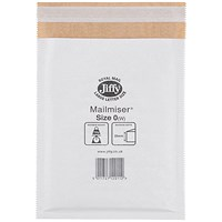 Jiffy Mailmiser No.0 Bubble-lined Protective Envelopes, 140x195mm, White, Pack of 100