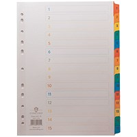 Concord Index 1-15 A4 White with Multicoloured Mylar Tabs