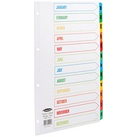 Concord Index Dividers, Jan-Dec, Multicoloured Mylar Tabs, A4, White