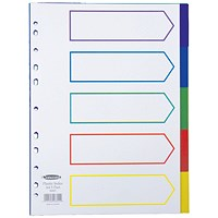 Concord Plastic Subject Dividers, 5-Part, A4, Assorted