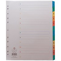 Concord Index Dividers, Extra Wide, 1-12, Multicoloured Tabs, A4, White