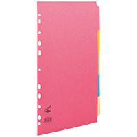 Concord Contrast File Dividers, 5-Part, A4, Assorted