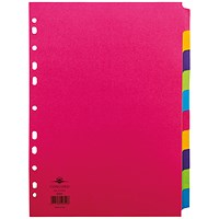 Concord Contrast File Dividers, 10-Part, A4, Assorted