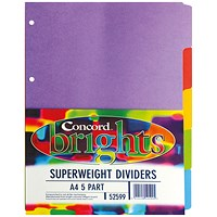 Concord Subject Dividers, Heavyweight, 5-Part, A4, Bright Assorted