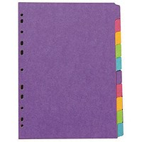 Concord Subject Dividers, Heavyweight, 10-Part, A4, Bright Assorted
