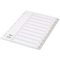 Concord Subject Dividers, 1-10, Grey Tabs, A4, White