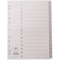 Concord Subject Dividers, 1-15, Grey Tabs, A4, White