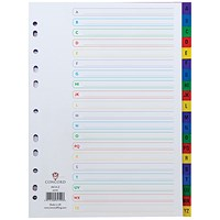 Concord Plastic Index Dividers, A-Z, A4, Assorted