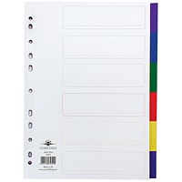 Concord Plastic Subject Dividers, 6-Part, A4, Assorted