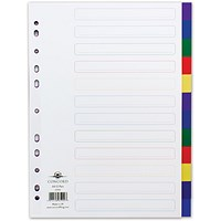Concord Plastic Subject Dividers, 12-Part, A4, Assorted