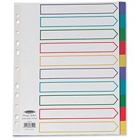 Concord Subject Dividers, Extra Wide, 10-Part, A4, Multicoloured Tabs, White