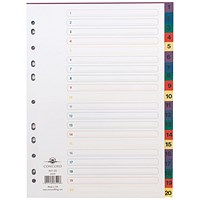 Concord Plastic Index Dividers, 1-20, A4, Assorted