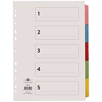 Concord Subject Dividers, Printed, 5-Part, A4, Assorted
