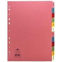Concord Index Dividers, Jan-Dec, A4, Assorted, Pack of 10