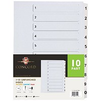 Concord Presentation Index, Unpunched, 1-10, Mylar Tabs, A4, White, Pack of 10
