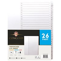 Concord Presentation Index, Unpunched, A-Z, A4, White, Pack of 5