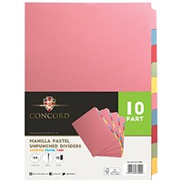 Concord Presentation Dividers, Unpunched, 10-Part, A4, Assorted, Pack of 10