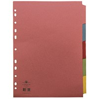 Concord Reinforced Divider 5-Part A4 160gsm Pastel Colours