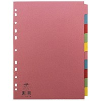 Concord Reinforced Divider 10-Part A4 160gsm Pastel Colours