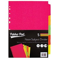 Concord Subject Dividers, 5-Part, A4, Fluorescent Assorted