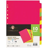 Concord Subject Dividers, 10-Part, A4, Fluorescent Assorted