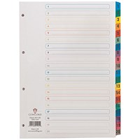 Concord Index 1-20 A4 White with Multicoloured Mylar Tabs