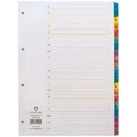 Concord Subject Dividers, A-Z, Multicoloured Tabs, A4, White