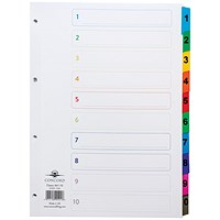 Concord Index Dividers, 1-10, Multicoloured Mylar Tabs, A4, White