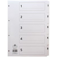 Concord Classic Index Dividers, 1-5, Mylar Tabs, A4, White