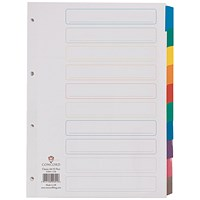 Concord Index Dividers, 10-Part, Multicoloured Mylar Tabs, A4, White