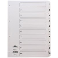 Concord Classic Index Dividers, 1-10, Mylar Tabs, A4, White