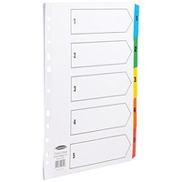 Concord Index Dividers, Extra Wide, 1-5, Multicoloured Tabs, A4, White
