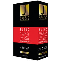Java Xpress Blend 72 Decaf Coffee Capsules (Pack of 100)