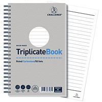 Challenge Wirebound Carbonless Triplicate Book / Ruled / 50 Sets / 210x130mm / Pack of 5